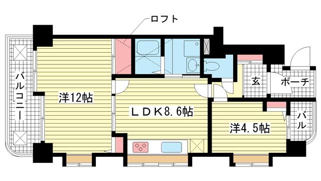 物件番号: 1025804721 リブコート神戸山の手  神戸市中央区下山手通7丁目 2LDK マンション 間取り図
