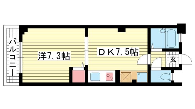 物件番号: 1025804842 三和マンション  神戸市中央区中山手通3丁目 1DK マンション 間取り図