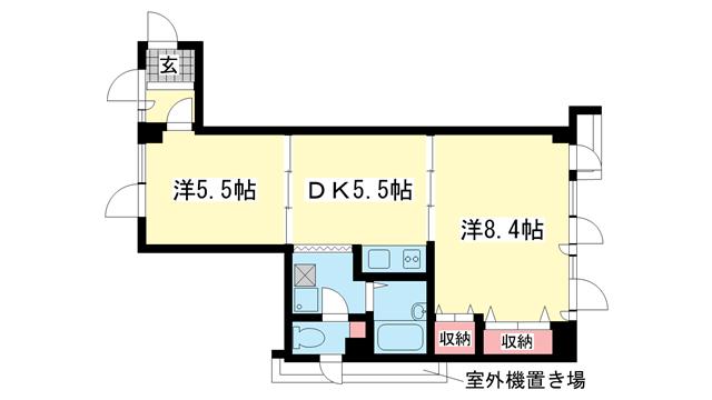 物件番号: 1025804900 CHALET元町  神戸市中央区北長狭通4丁目 2DK マンション 間取り図