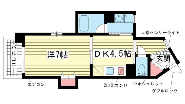 物件番号: 1025804902 オルタンシア下山手  神戸市中央区下山手通6丁目 1DK マンション 間取り図