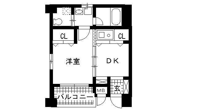 物件番号: 1025805194 中野ビル  神戸市中央区雲井通4丁目 1DK マンション 間取り図
