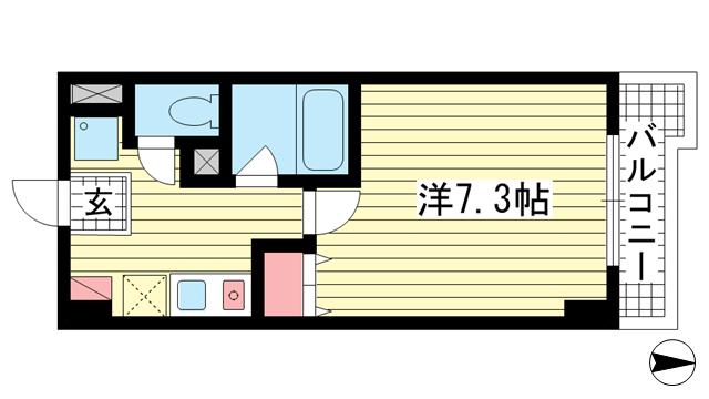 物件番号: 1025805214 アルパ三宮  神戸市中央区琴ノ緒町1丁目 1K マンション 間取り図