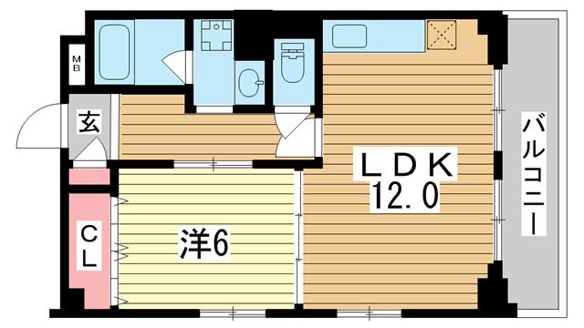 物件番号: 1025805225 マーキス・リー  神戸市中央区山本通3丁目 1LDK マンション 間取り図