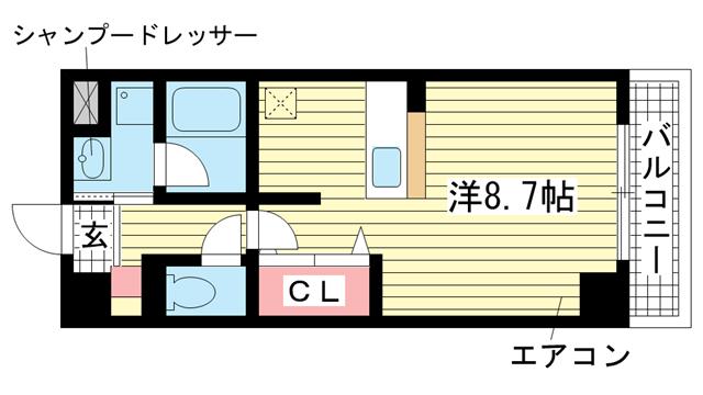 物件番号: 1025805421 ルミエール兵庫  神戸市兵庫区三川口町3丁目 1R マンション 間取り図