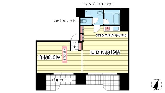 物件番号: 1025805482 ラ・ルミエール山手  神戸市中央区下山手通5丁目 1LDK マンション 間取り図