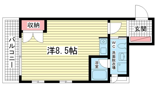 物件番号: 1025805751 セーシールコート  神戸市中央区中山手通4丁目 1R マンション 間取り図