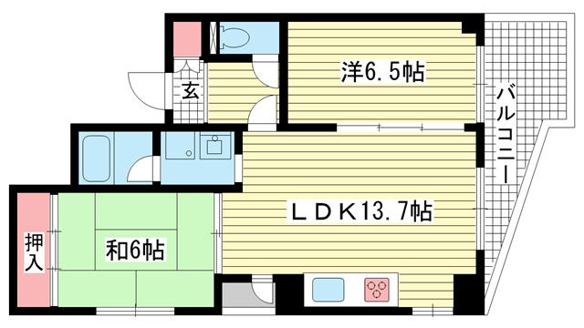 物件番号: 1025805752 セーシールコート  神戸市中央区中山手通4丁目 2LDK マンション 間取り図