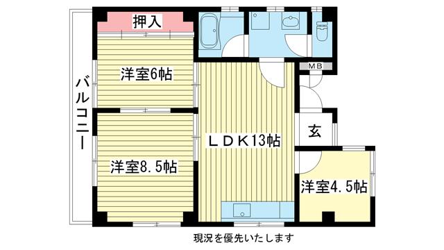 物件番号: 1025805753 下山手コーポ  神戸市中央区北長狭通5丁目 3LDK マンション 間取り図