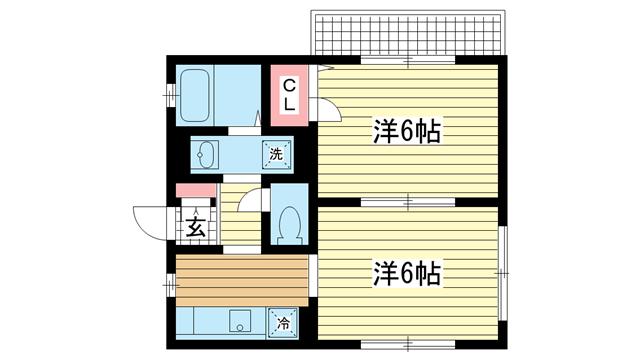 物件番号: 1025805842 中山手ガーデンパレスC棟  神戸市中央区中山手通7丁目 2K ハイツ 間取り図