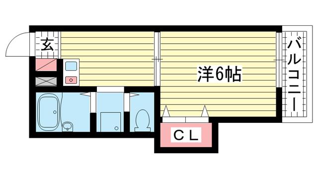 物件番号: 1025806149 サンマジェスタ  神戸市中央区神若通6丁目 1DK アパート 間取り図