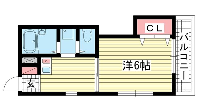 物件番号: 1025806150 サンマジェスタ  神戸市中央区神若通6丁目 1DK アパート 間取り図