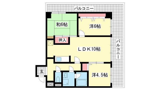 物件番号: 1025806235 ライオンズマンション三宮東  神戸市中央区日暮通4丁目 3LDK マンション 間取り図