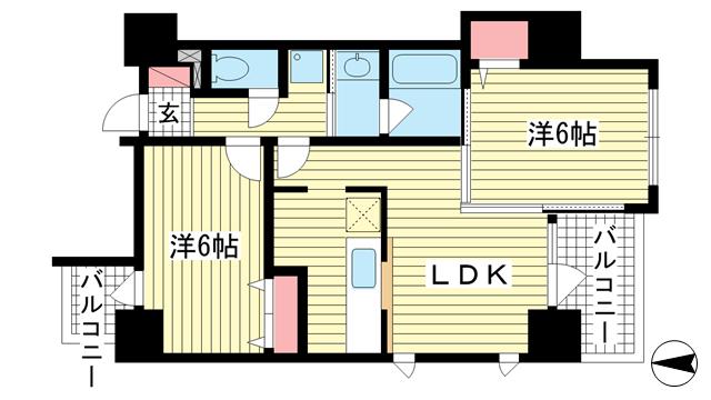 物件番号: 1025806291 メゾン・ヌーベル新神戸  神戸市中央区二宮町2丁目 2LDK マンション 間取り図