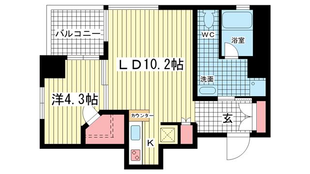 物件番号: 1025806400 L。TOAST KOBE  神戸市中央区御幸通3丁目 1LDK マンション 間取り図