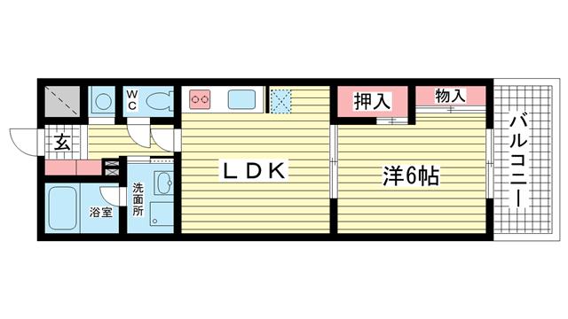 物件番号: 1025806513 ジュリアス中山手  神戸市中央区中山手通7丁目 1LDK マンション 間取り図