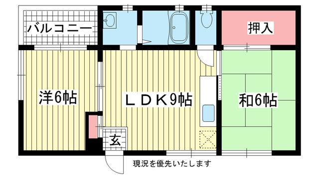 物件番号: 1025806552 オーシャンビル  神戸市中央区筒井町3丁目 2LDK マンション 間取り図