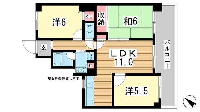 物件番号: 1025806649 エクセラート神戸  神戸市兵庫区駅前通5丁目 3LDK マンション 間取り図