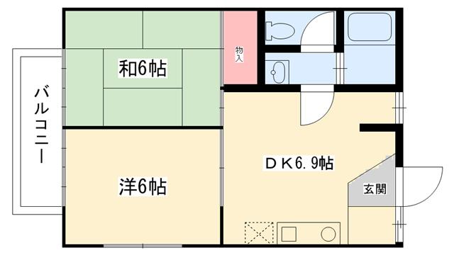 物件番号: 1025806674 カーサベガ  神戸市長田区高東町2丁目 2DK ハイツ 間取り図