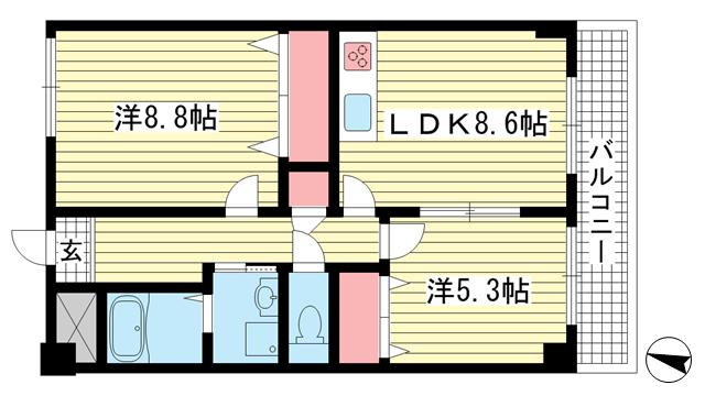 物件番号: 1025806751 北野町ライトヒルズ  神戸市中央区北野町3丁目 2LDK マンション 間取り図