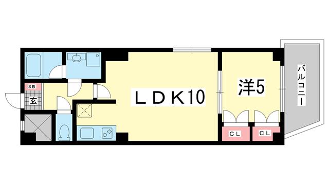 物件番号: 1025806754 メゾンフローラ  神戸市中央区花隈町 1LDK マンション 間取り図