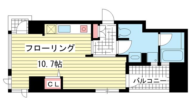 物件番号: 1025806827 ワコーレ三宮ランドマークシティ  神戸市中央区磯辺通2丁目 1R マンション 間取り図