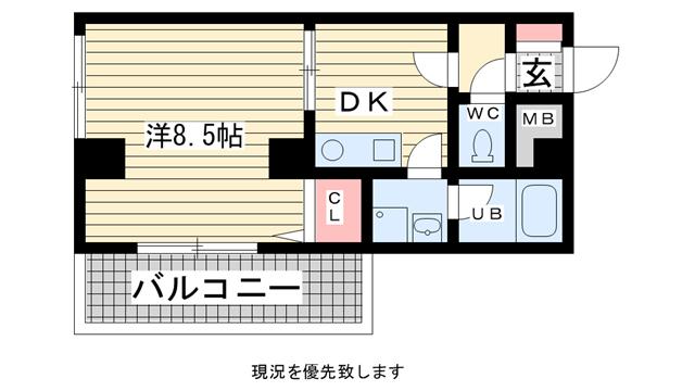 物件番号: 1025807102 ダイコーパレス  神戸市中央区脇浜町2丁目 1DK マンション 間取り図