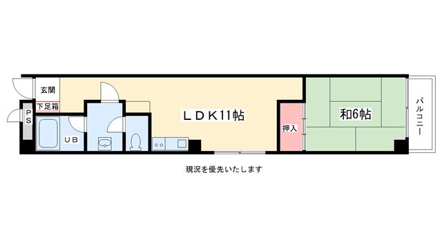 物件番号: 1025807338 オズハウス  神戸市灘区水道筋5丁目 1LDK マンション 間取り図