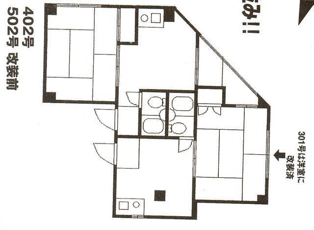物件番号: 1025807417 サンパークハイツ  神戸市中央区日暮通6丁目 1DK マンション 間取り図