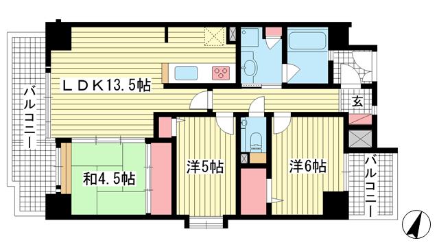 物件番号: 1025807823 エスリード三宮フラワーロード  神戸市中央区磯辺通4丁目 2SLDK マンション 間取り図