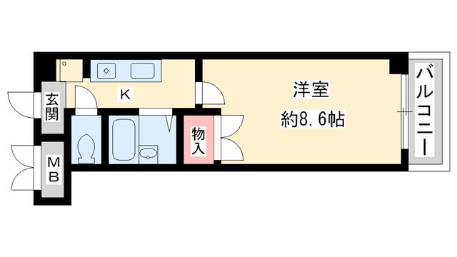 物件番号: 1025807867 アートプラザ神戸西  神戸市西区前開南町2丁目 1K マンション 間取り図
