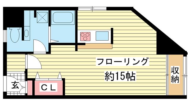 物件番号: 1025808059 シルフィード・ドゥ花隈  神戸市中央区花隈町 1R マンション 間取り図
