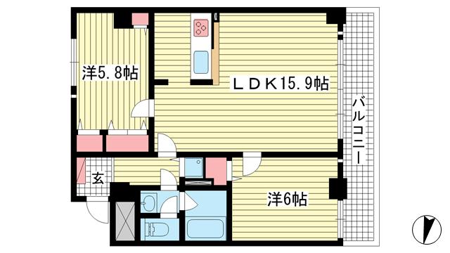 物件番号: 1025808174 プレサンス神戸三宮  神戸市中央区雲井通4丁目 1SLDK マンション 間取り図