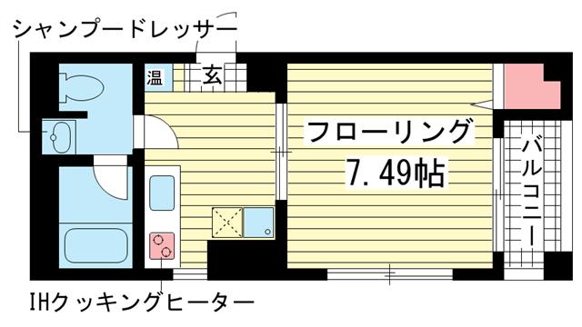 物件番号: 1025808624 サントル花隈  神戸市中央区花隈町 1K マンション 間取り図