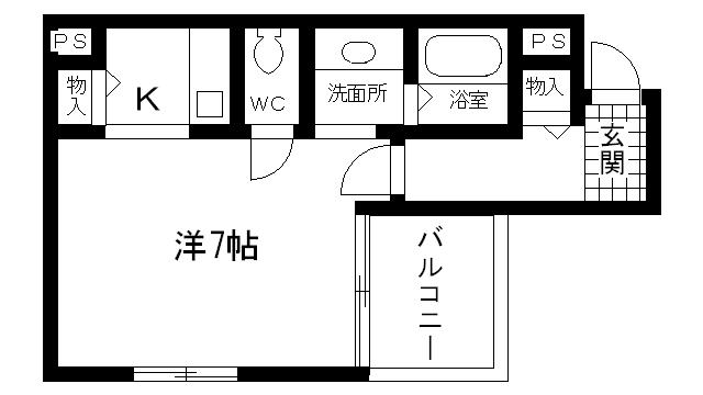 物件番号: 1025808747 ノーヴァ・ヴィータ  神戸市須磨区飛松町4丁目 1K マンション 間取り図