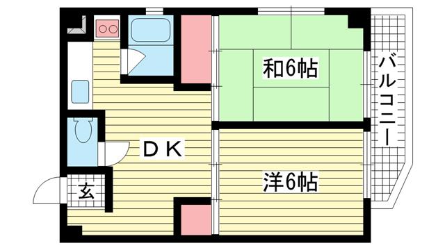 物件番号: 1025808786 三葉ハイツ  神戸市中央区山本通4丁目 2DK マンション 間取り図