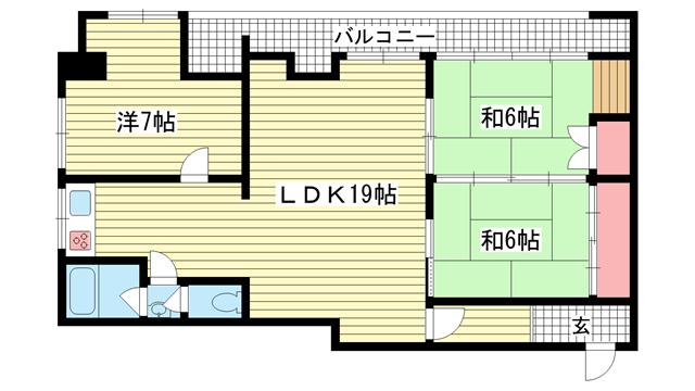 物件番号: 1025808790 山手コーポ  神戸市中央区中山手通6丁目 3LDK マンション 間取り図