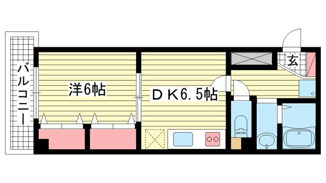物件番号: 1025809294 ルミナスコート  神戸市兵庫区西上橘通1丁目 1DK マンション 間取り図