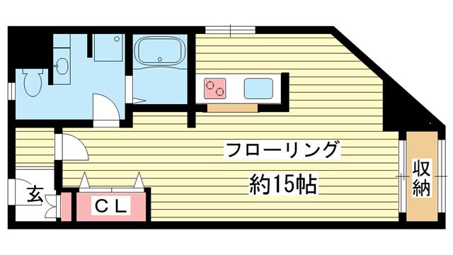 物件番号: 1025809351 シルフィード・ドゥ花隈  神戸市中央区花隈町 1R マンション 間取り図