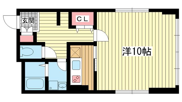 物件番号: 1025809389 Yuzenビル  神戸市中央区元町通5丁目 1K マンション 間取り図