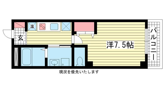 物件番号: 1025809609 グランダーブル  神戸市中央区相生町4丁目 1K マンション 間取り図