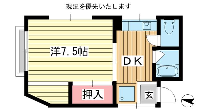 物件番号: 1025809650 NKビル  神戸市中央区中山手通2丁目 1DK マンション 間取り図