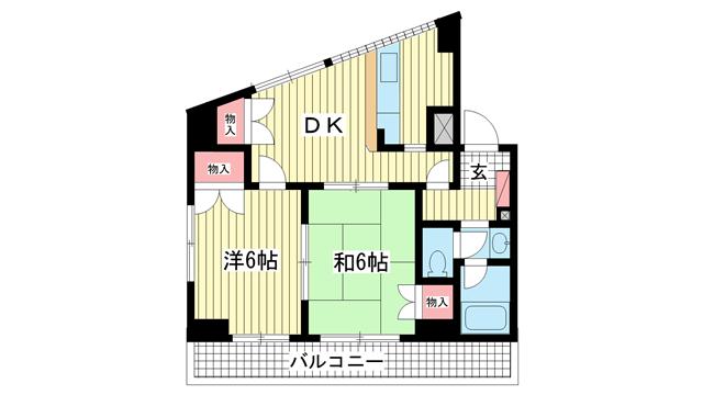 物件番号: 1025809727 ティ・オー・赤坂  神戸市灘区赤坂通6丁目 2DK マンション 間取り図