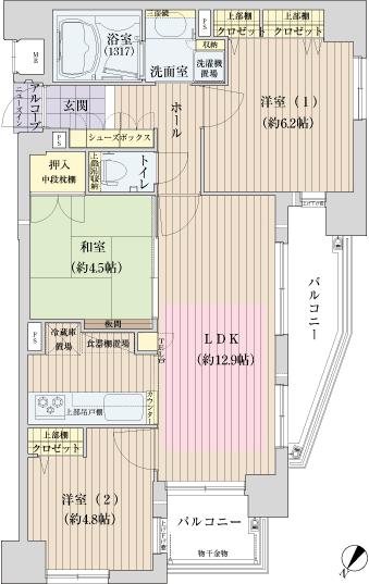 物件番号: 1025809990 メープル兵庫ラフィール  神戸市兵庫区兵庫町1丁目 3LDK マンション 間取り図
