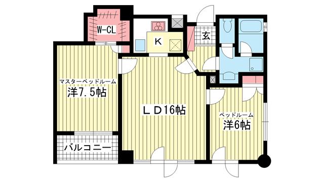 物件番号: 1025810008 MARINA北野  神戸市中央区加納町2丁目 2LDK マンション 間取り図