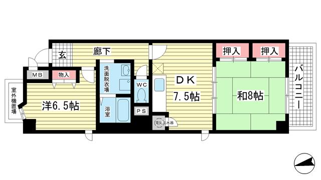 物件番号: 1025810257 メインステージ兵庫  神戸市兵庫区新開地4丁目 2DK マンション 間取り図