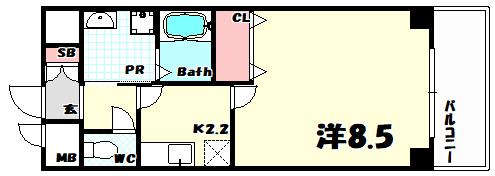 物件番号: 1025810299 プリムローズ  神戸市中央区日暮通1丁目 1K マンション 間取り図