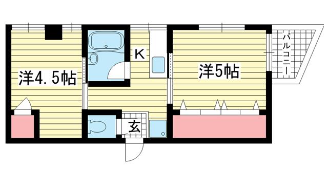 物件番号: 1025810371 永光マンション  神戸市中央区山本通4丁目 2K マンション 間取り図