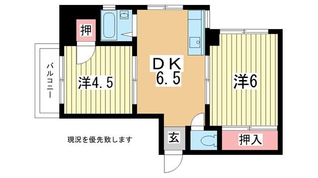 物件番号: 1025810505 オリーブヒルズ北野  神戸市中央区北野町4丁目 2DK マンション 間取り図