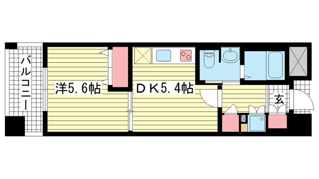 物件番号: 1025810593 サムティ三宮レガニール  神戸市中央区雲井通3丁目 1DK マンション 間取り図