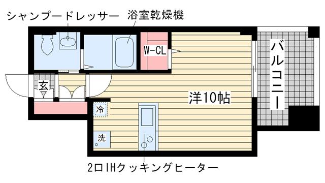 物件番号: 1025810604 サムティ三宮レガニール  神戸市中央区雲井通3丁目 1R マンション 間取り図